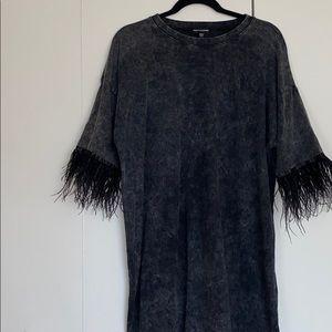 Grey Tye-Dye T-Shirt Dress